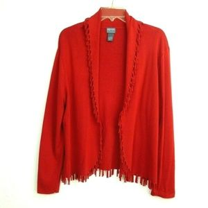 Additions by Chico's Fringe Cardigan Sweater 2 M L